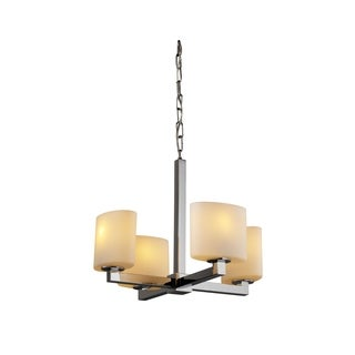 Justice Design Group Fusion 4-light Opal with Chrome Chandelier