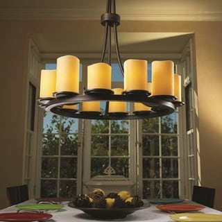 Justice Design Group CandleAria 12-light Tall Dark Bronze Chandelier