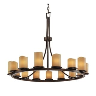 Justice Design Group CandleAria 15-light Amber with Dark Bronze Chandelier