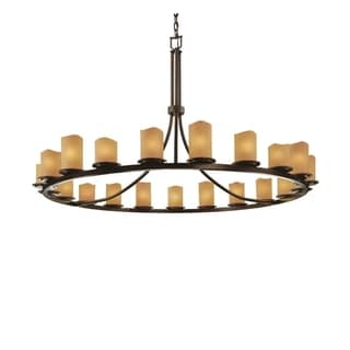 Justice Design Group CandleAria 21-light Amber with Dark Bronze Chandelier