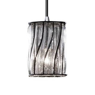 Wire Glass 1-Light Chrome Pendant