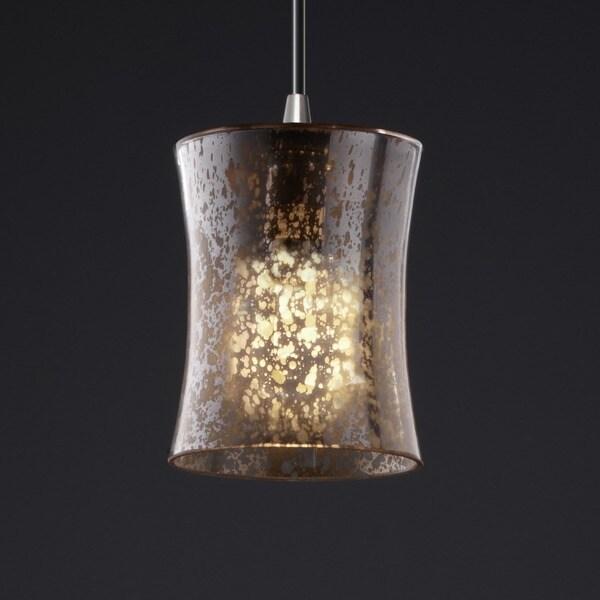Justice Design Group Fusion 1-light Hourglass Mercury Glass Mini Nickel Pendant