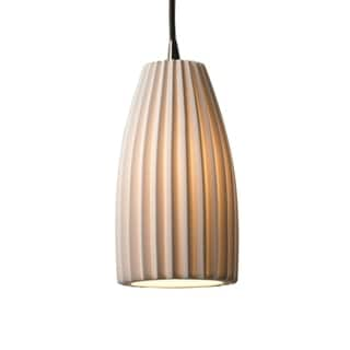 Limoges Single-light Pleated Cylinder Nickel Pendant