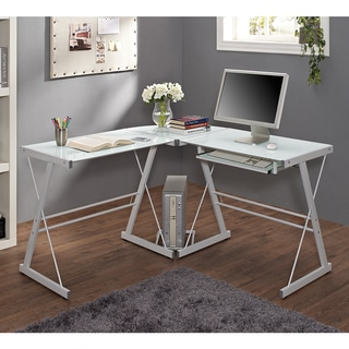 White Glass Metal Corner Computer Desk