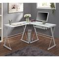 White Glass Metal Corner Computer Desk
