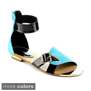 Nature Breeze Women's 'Milan-01' Colorful Flat Sandals