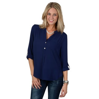 Hailey Jeans Co. Junior's Roll-up Sleeve Button Detail Top
