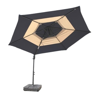 10-Foot Navy and Tan Umbrella and Base