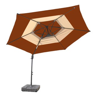 10-Foot Round Tuscan Orange and Tan Umbrella with Base