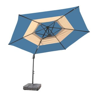 10-Foot Round Steel Blue and Tan Umbrella with Base