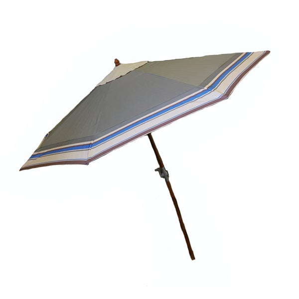 9-Foot Wood Green Olive Umbrella