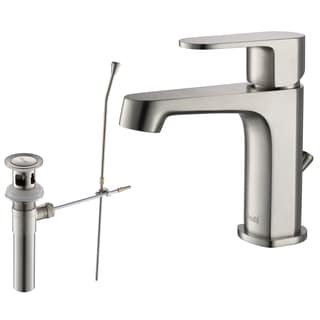 Rivuss Brisbane Lead-Free Solid Brass Single-Lever Bathroom Faucet Brushed Nickel Finish with Pull-Out Drain