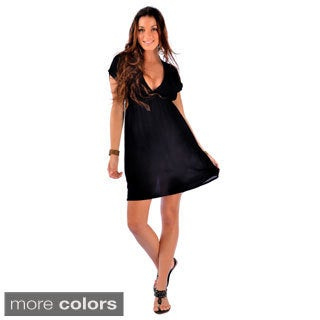Women's Short Sleeve Deep V-neck Cover-up Short Dress (Indonesia)