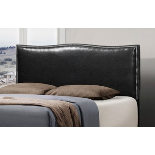 Black Leather Curved Queen-size Nailhead Headboard