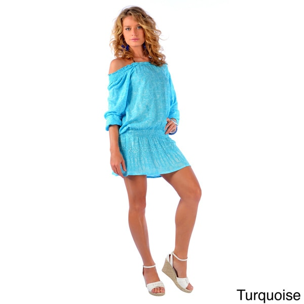 Women's Long Sleeve Off-shoulder Short Cover-up Dress (Indonesia)