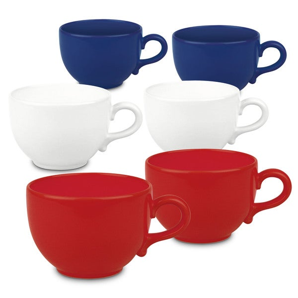 Waechtersbach Fun Factory Red White and Blue Jumbo Cafe Latte Mugs (Set of 6)