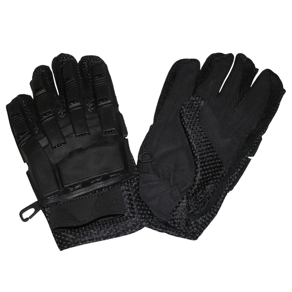 I&I Sports Vented Armored Full-finger Black Leather Gloves