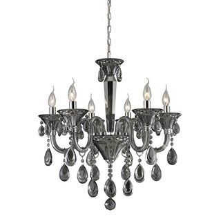 Formont Smoke Plated and Chrome 6-light Crystal Chandelier