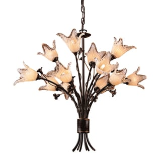 Fioritura 12-light Aged Bronze/ Hand-blown Tulip Glass Chandelier