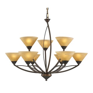 Elysburg 9-light Aged Bronze/ Tea Swirl Glass Chandelier