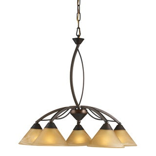 Elysburg Aged Bronze and Tea Swirl Glass 5-light Chandelier