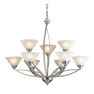 Elysburg Satin Nickel and Marblized White Glass 9-light Chandelier