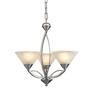 Elysburg Satin Nickel and Marblized White Glass 3-light Chandelier