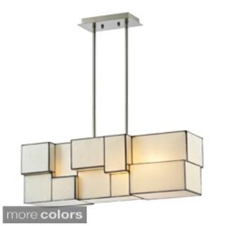 4-light Cube Art Glass Geometric Chandelier