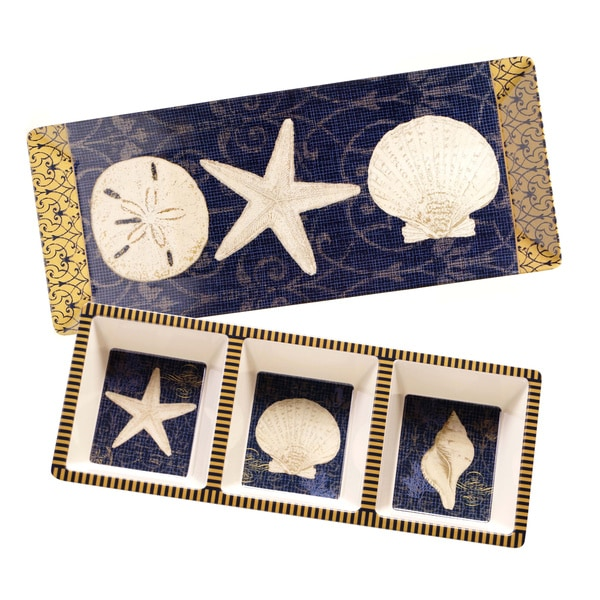 Coastal Moonlight 2-piece Melamine Appetizer Set