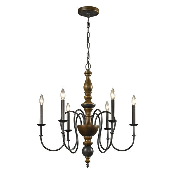french country 6 light vintage rust chandelier overstock