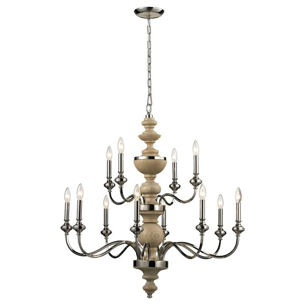 Stratford 12-light Polished Nickel Chandelier