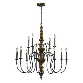 French Country 12-light Vintage Rust Chandelier