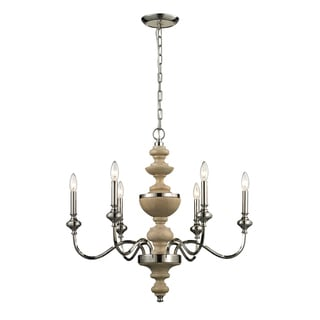Stratford 6-light Natural Polished Nickel Chandelier