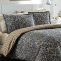 Overstock.com deals on City Scene Milan Charcoal Reversible 3-piece Cotton Duvet Cover Set