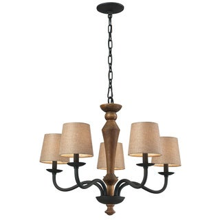 HGTV Home Early American 5-light Colonial Maple/ Vintage Rust Chandelier