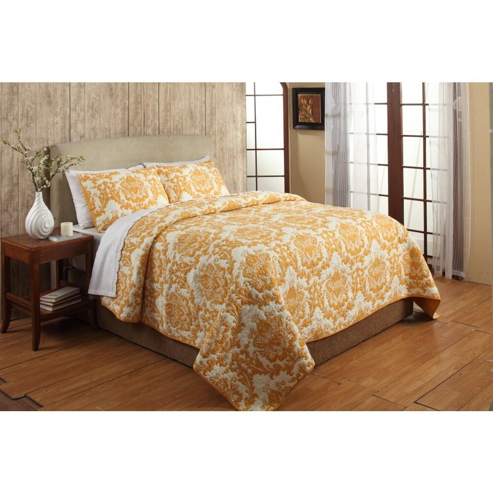 Cottage Home Eloisa Orange Cotton 3-piece Quilt Set