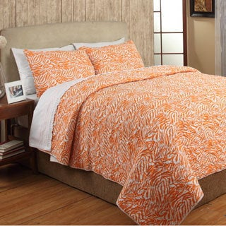Penelope Orange Cotton 3-piece Quilt Set
