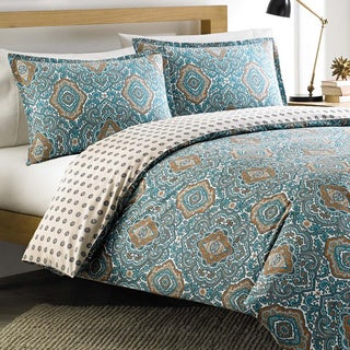 City Scene Milan Teal Reversible Cotton 3-piece Duvet Cover Set