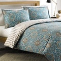 Overstock.com deals on City Scene Milan Teal Reversible Cotton 3-piece Duvet Cover Set