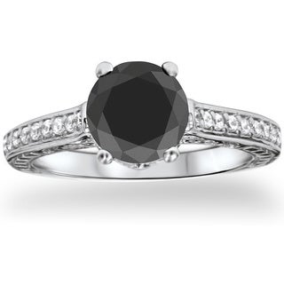14k White Gold 1 1/4ct TDW Vintage Black Diamond Engagement Ring