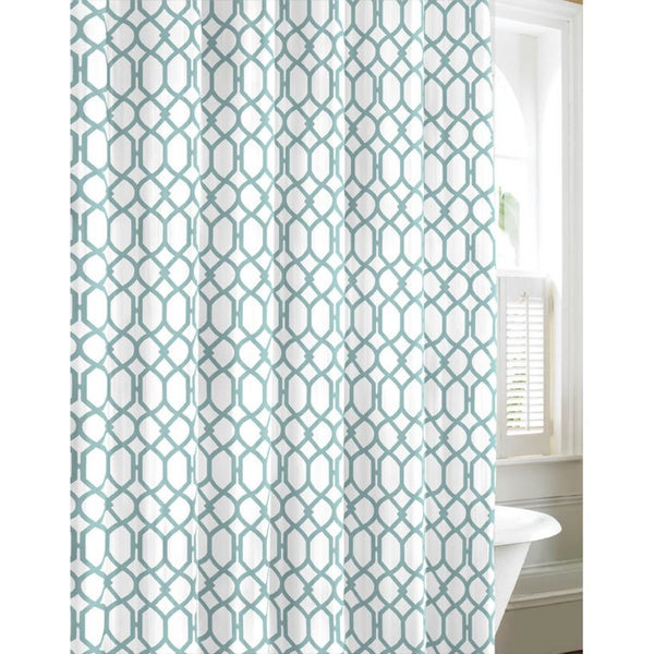 Tommy Bahama Shoretown Trellis Lagoon Cotton Shower Curtain