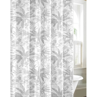Tommy Bahama Bayloon Breeze Gray Cotton Shower Curtain