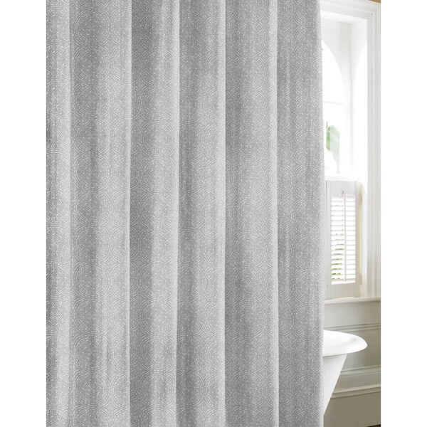 Tommy Bahama Batik Medallion Gray Cotton Shower Curtain