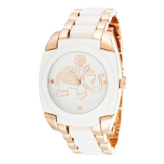 Macbeth Collection Women's Elefante Metal White Square Watch