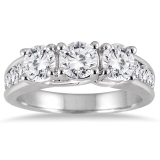 14k White Gold 2ct TDW White Diamond Three-stone Engagement Ring (I-J, I2-I3)