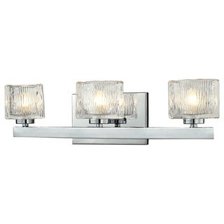 Z-Lite 'Rai' Chrome/ Textured Glass 3-light Vanity Fixture