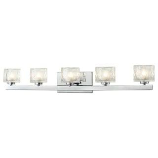 Z-Lite 'Rai' Chrome/ Textured Glass 5-light Vanity Fixture