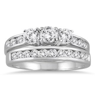 10k White Gold 1 1/2ct TDW Three-stone Diamond Bridal Set (I-J, I2-I3)
