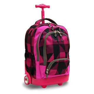 J World New York Block Pink Sunbeam 18-inch Rolling Laptop Backpack
