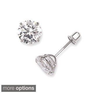14k White Gold Cubic Zirconia Screwback Earrings